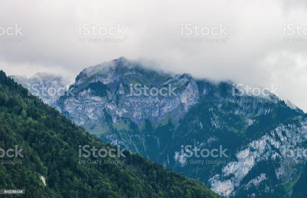 Panorama of Brienzer Rothorn mountain Brienz in Bern in Switzerland stock photo