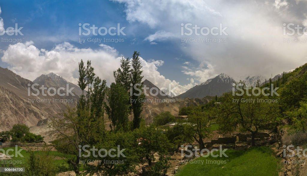 Panorama of Bualtar glacier and Hunza valley, Gilgit-Baltistan Pakistan stock photo