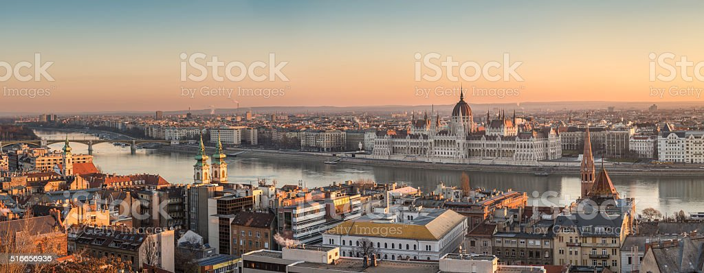 Panorama of Budapest, Hungary stock photo