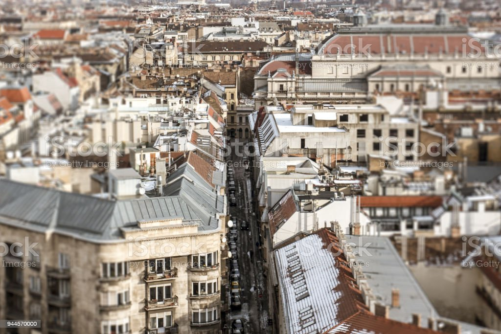 Panorama of Budapest with a view of the old house and the street with cars in retro style, tilt-shift effect stock photo