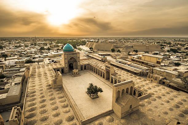 panorama of bukhara, uzbekistan - oezbekistan stockfoto's en -beelden