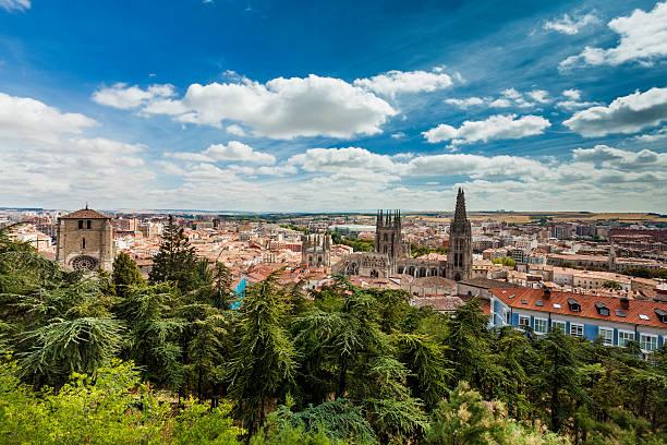 panorama de burgos, españa con la catedral burghos - burgos fotografías e imágenes de stock