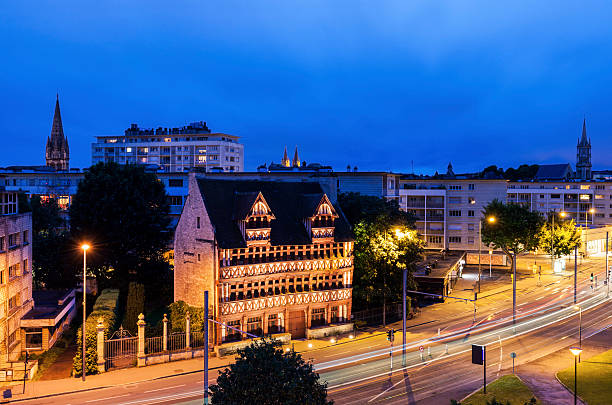 panorama of caen - caen stock pictures, royalty-free photos & images