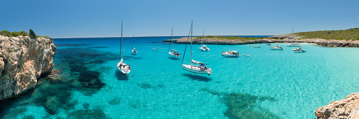istock Panorama of Cala Varques Bay with Yachts, Mallorca, Spain 580104742