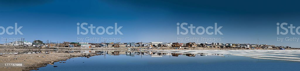 Panorama of Cambridge Bay, Nunavut, Canada stock photo