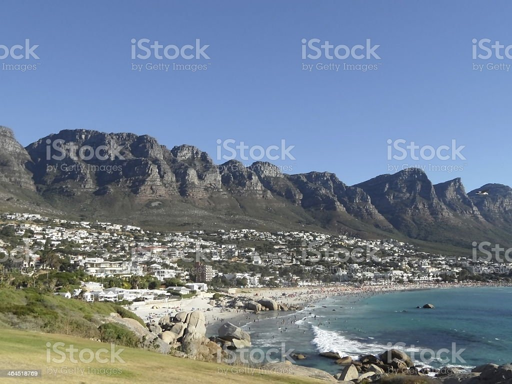 panorama of Camps Bay near Capetown in South Africa stock photo