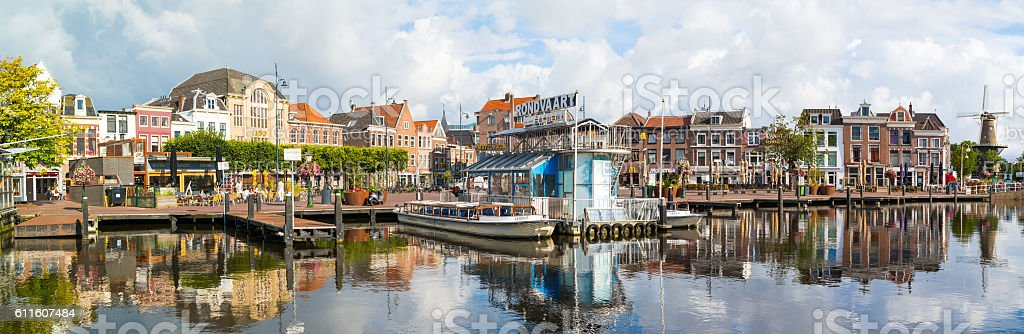 Panorama of canal cruise terminal in Leiden, Netherlands stock photo