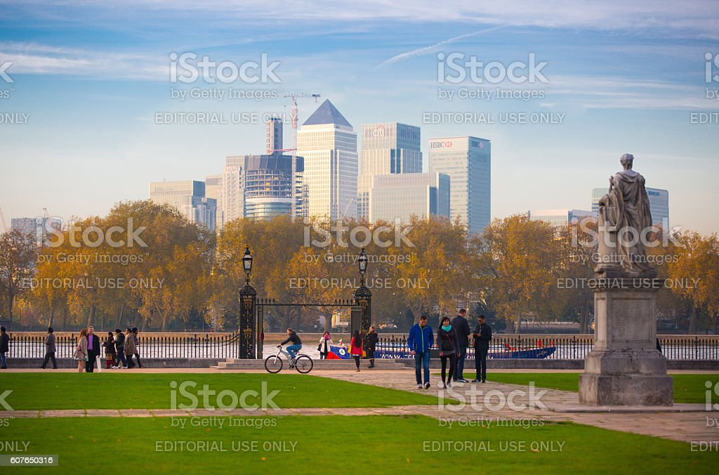 Panorama of Canary Wharf, London stock photo