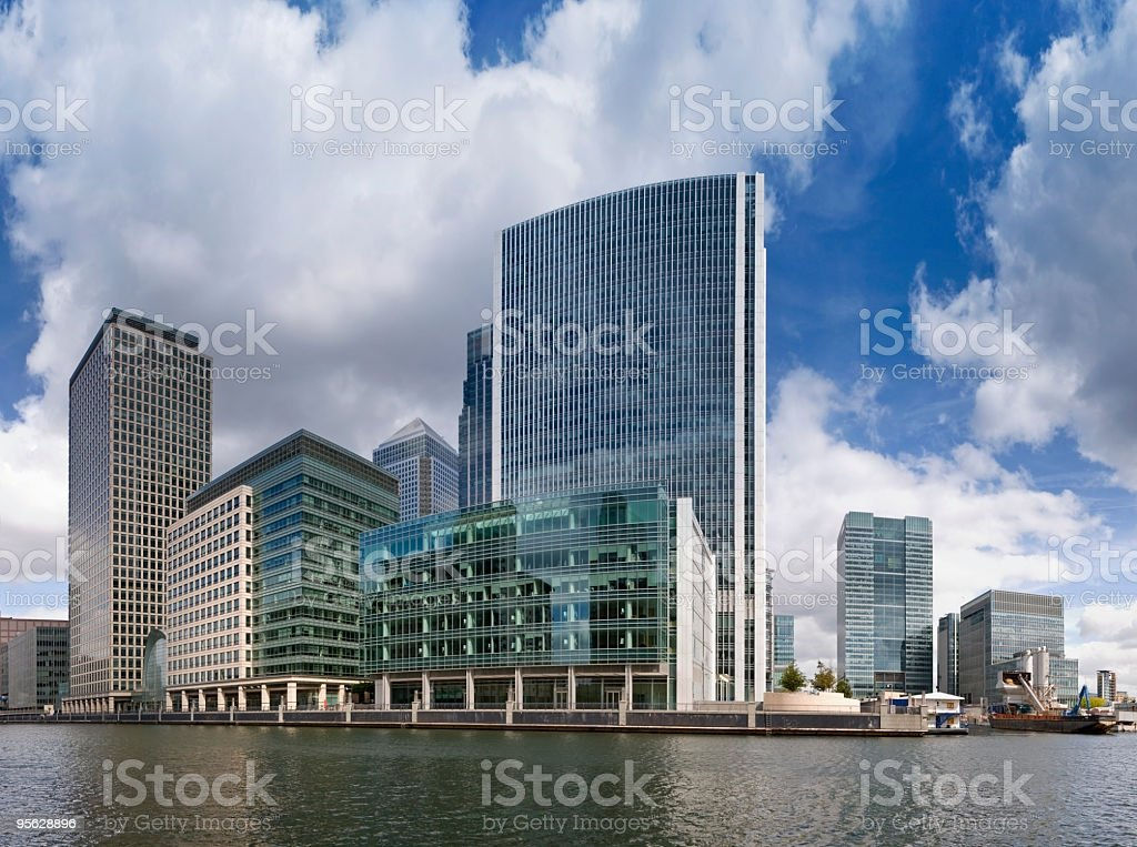 Panorama of Canary wharf royalty-free stock photo