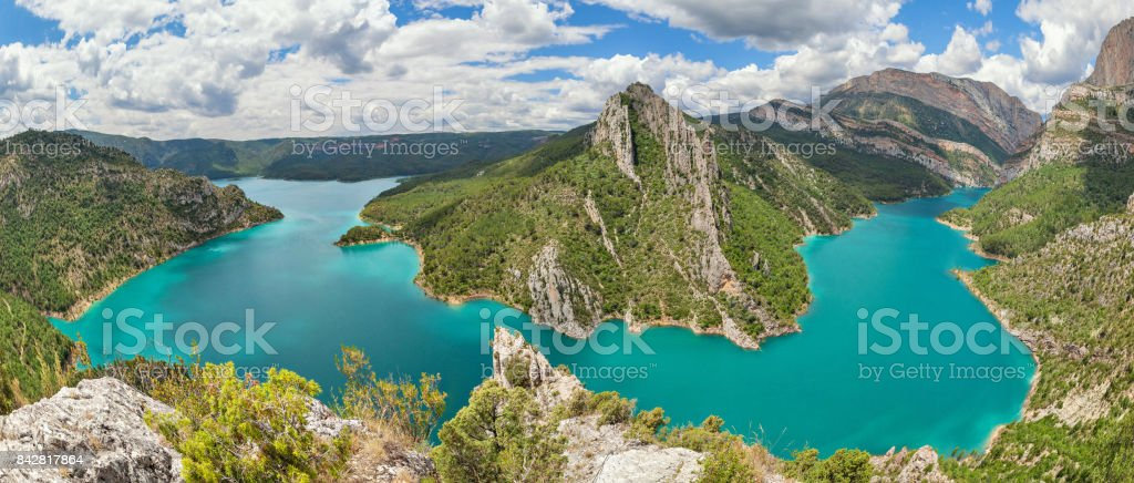 Panorama of Canelles reservoir, Lleida province, Spain stock photo