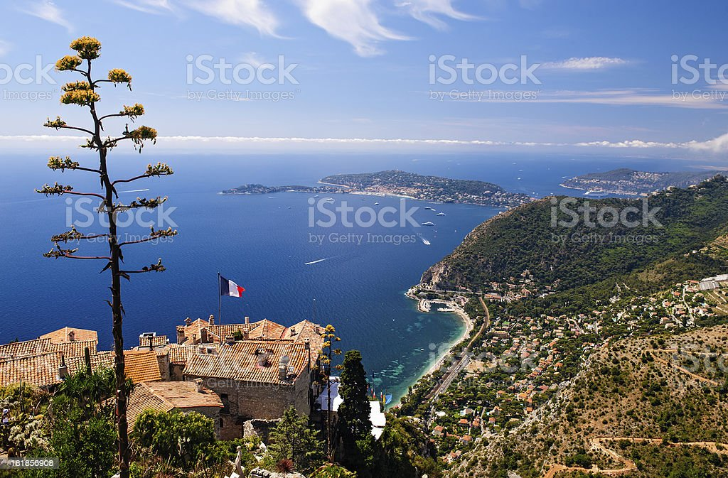 Panorama of Cap Ferat and the Cote d'Azur near Nice stock photo