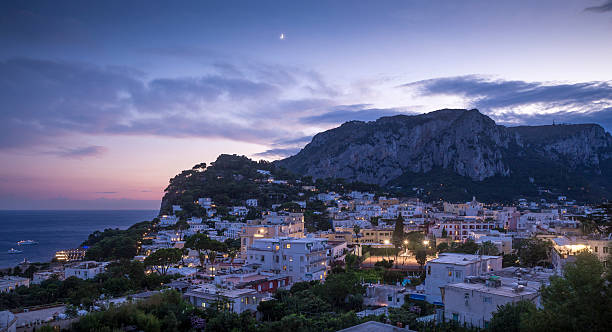 Panorama of Capri island at night, Italy – Foto