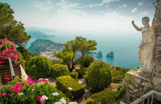 panorama of capri island from mount solaro, italy - neapel stock-fotos und bilder