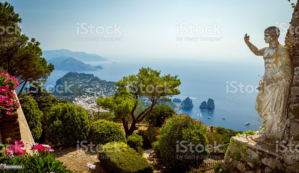 Panorama of Capri island from Mount Solaro stock photo