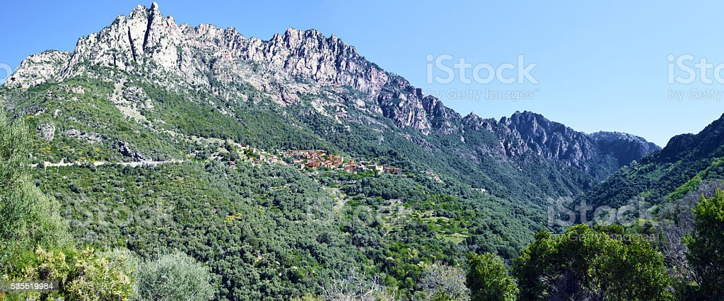 Panorama of Capu Ota Mountain and Spelunca Canyon stock photo