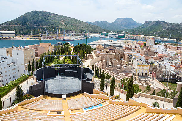 panorama of cartagena, spain - cartagena museum stock photos and pictures