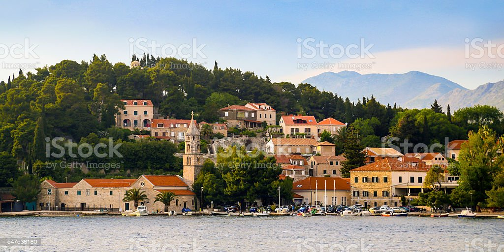 Panorama of Cavtat stock photo