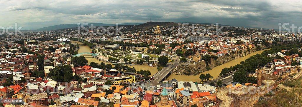 Panorama of central Tbilisi, Georgia. View from Narikala fortress Стоковые фото Стоковая фотография