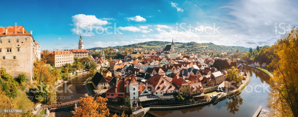 Panorama Of Cesky Krumlov Cityscape, Czech Republic. Sunny Autumn Day stock photo