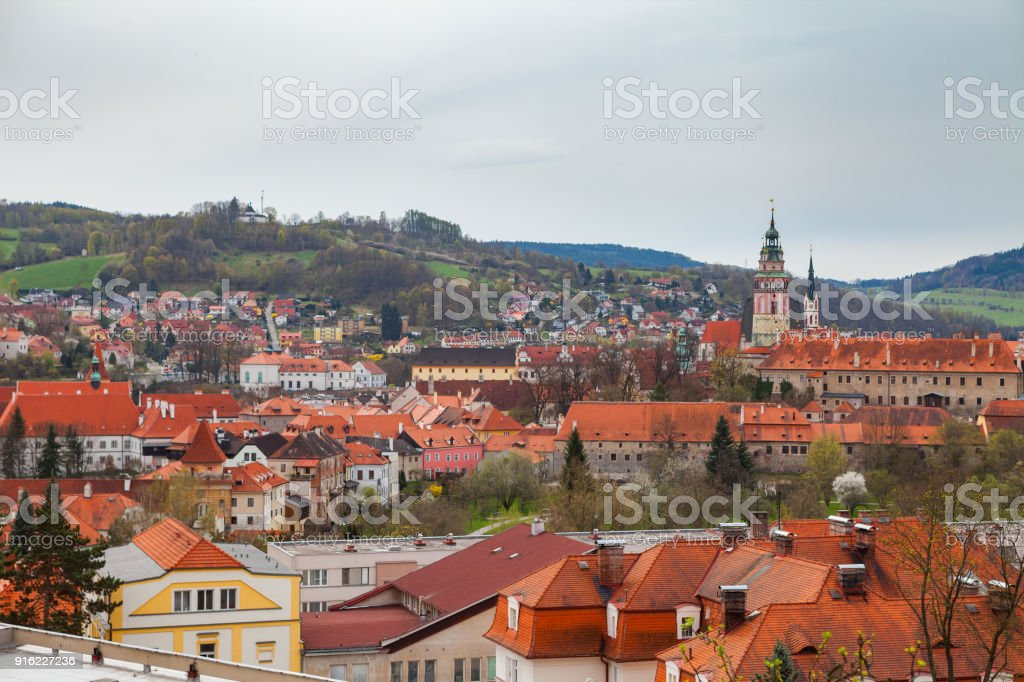 Panorama of Cesky Krumlov. Cloudy spring weather. UNESCO World Heritage Site stock photo