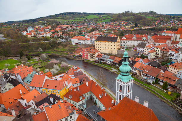 Panorama of Cesky Krumlov from the highest castle tower. Cloudy spring weather. UNESCO World Heritage Site stock photo