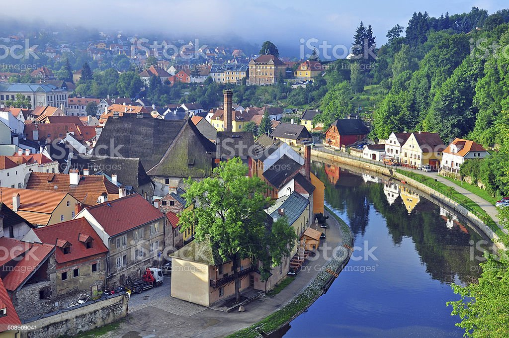 Panorama of Cesky Krumlov stock photo