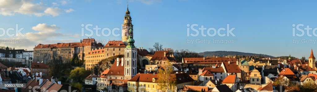 Panorama of Cesky Krumlov. stock photo