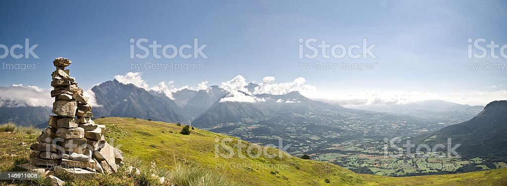 Panorama of Champsaur valley, in the french alps, during summer stock photo