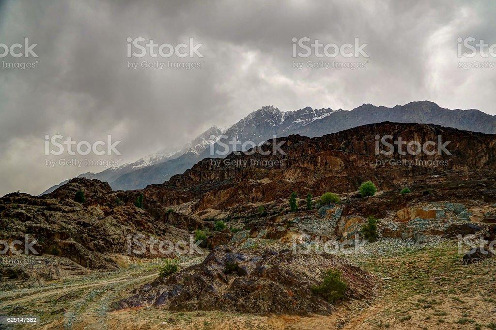 Panorama of Chari Khand mountain, Gahkuch Pakistan stock photo