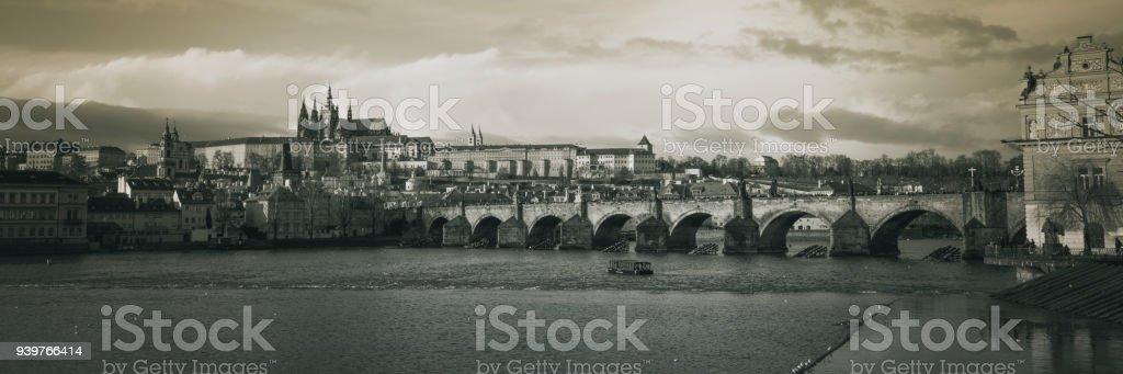 Panorama of Charles bridge in black and white stock photo