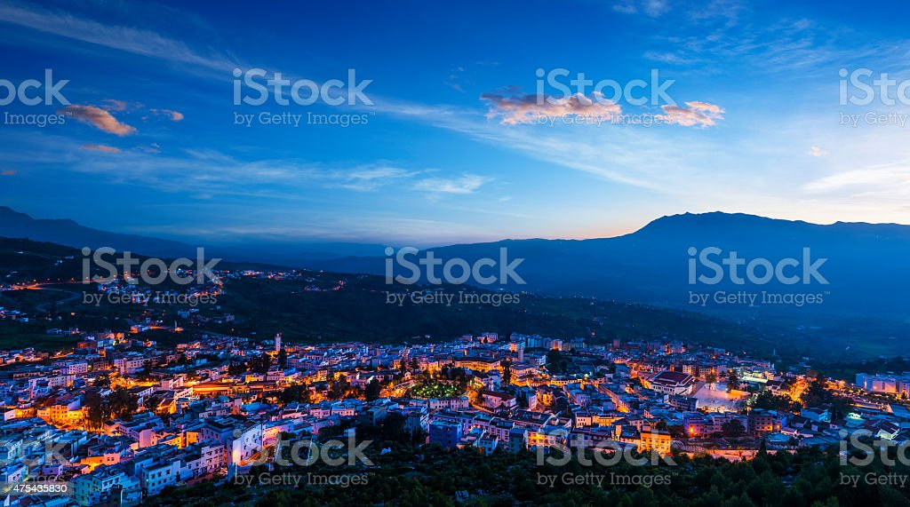 Panorama of Chefchaouen with buildings painted in blue color, Morocco