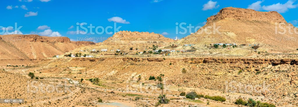 Panorama of Chenini, a fortified Berber village in South Tunisia stock photo