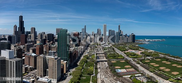 panorama of Chicago and Grant Park from above looking north
