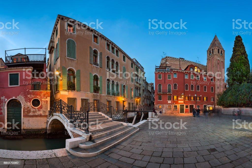 Panorama of Chiesa di San Vidal in the Evening, Venice, Italy stock photo