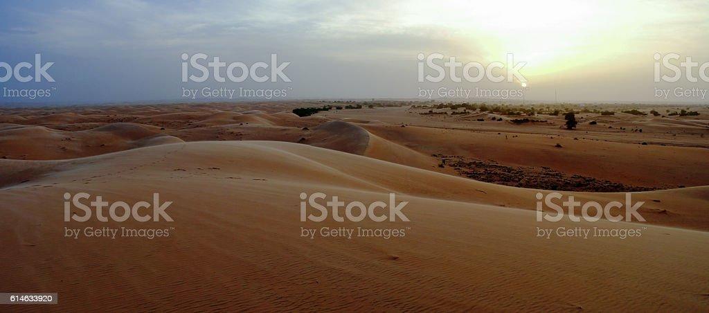 Panorama of Chinguetti dunes at sunset stock photo
