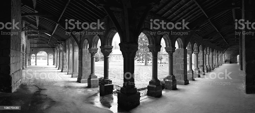 Panorama of Church Cloister, Black and White stock photo