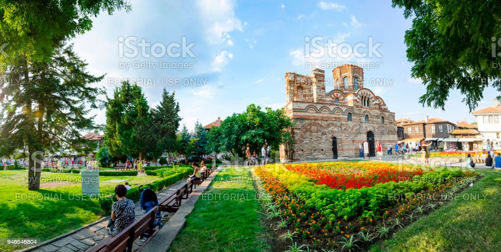 Panorama of Church of Christ Pantocrator in Old Nesebar town stock photo
