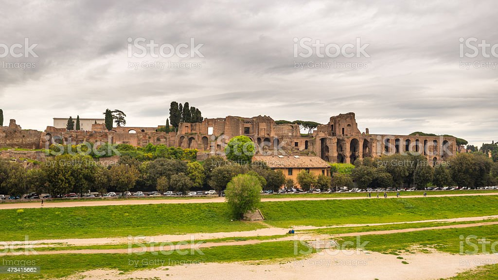 Panorama of Circo Massimo in Rome, Italy stock photo