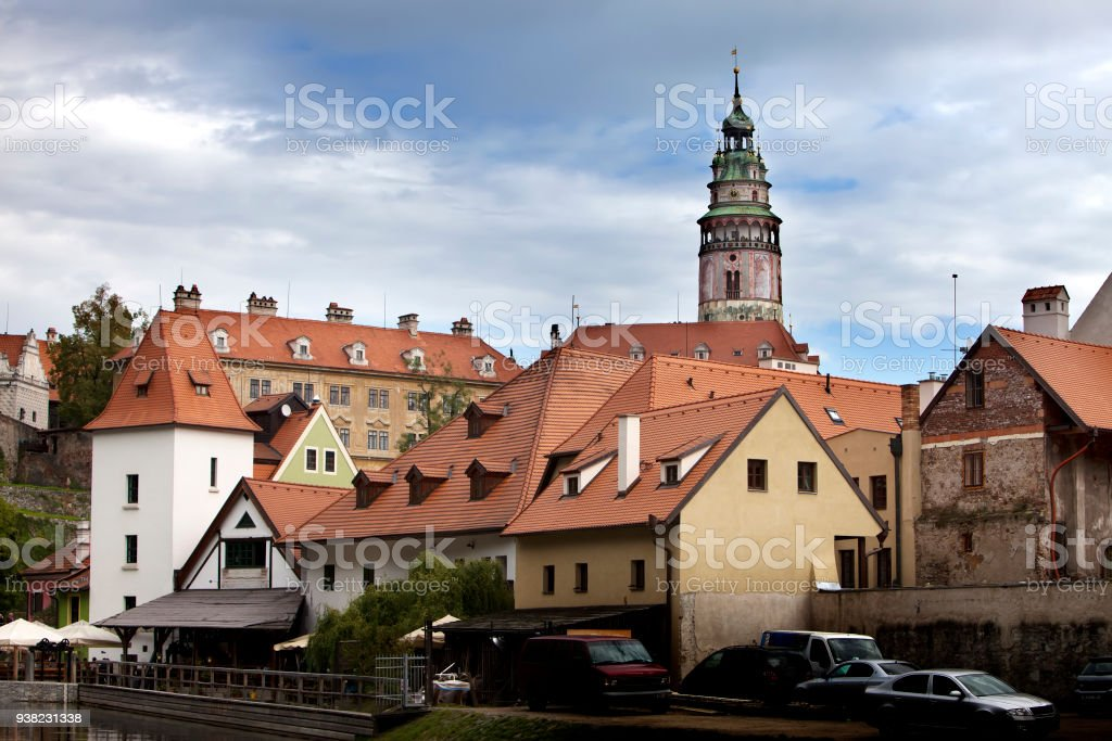 Panorama of city and historic castle in Cesky Krumlov. Czech Republic. stock photo
