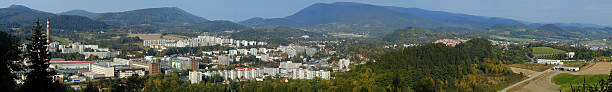 Panorama of city Roznov pod Radhostem, Czech Republic stock photo