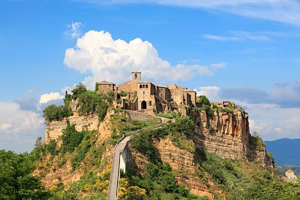 Panorama of Civita di Bagnoregio, Lazio Italy  tuff stock pictures, royalty-free photos & images
