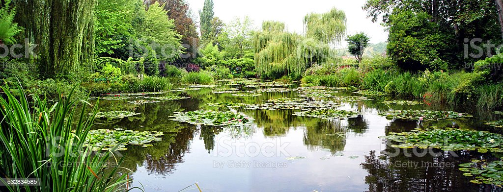 Panorama of Claude Monet's gardens, Giverny, France stock photo