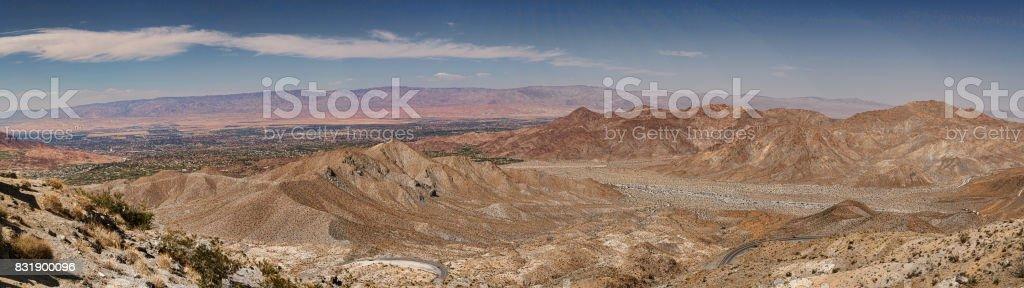 Panorama of Coachella Valley in Palm Desert, California stock photo