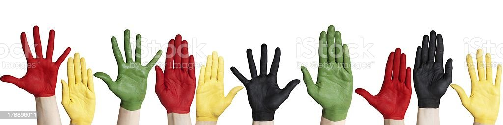 panorama of colorful hands royalty-free stock photo