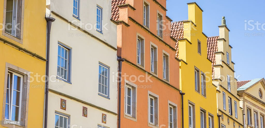 Panorama of colorful houses at the market square in Osnabruck Lizenzfreies stock-foto