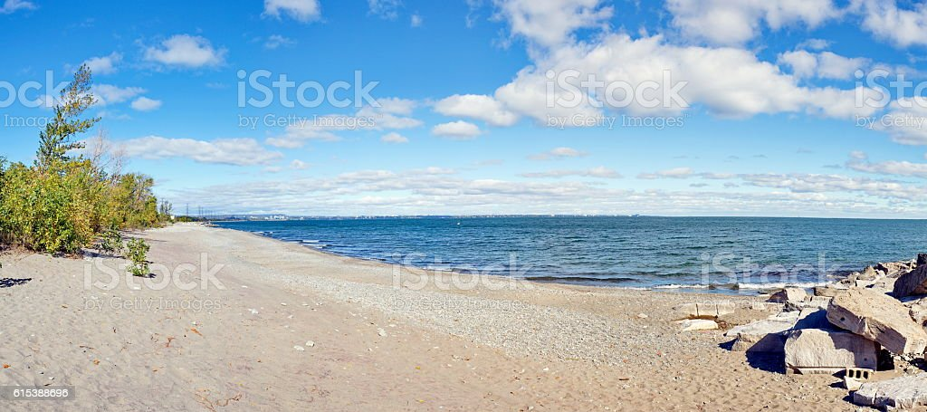 Panorama of Confederation Park  and Van Wagner's Beach waterfron royalty-free stock photo