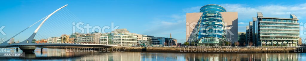 Panorama of Convention Centre and Samuel Beckett Bridge in Dublin stock photo