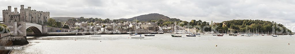 Panorama of Conwy stock photo