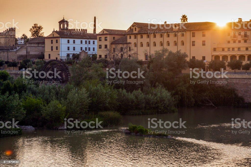 Panorama of Cordoba with Guadalquivir River stock photo