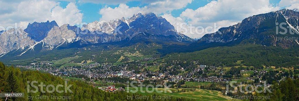 Panorama of Cortina d'Ampezzo Italy royalty-free stock photo